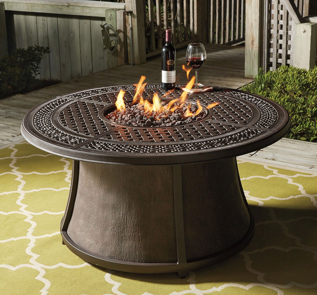Burnella Round Fire Pit Table - Outdoor Dining Furniture ... on Outdoor Dining Tables With Fire Pit id=28666