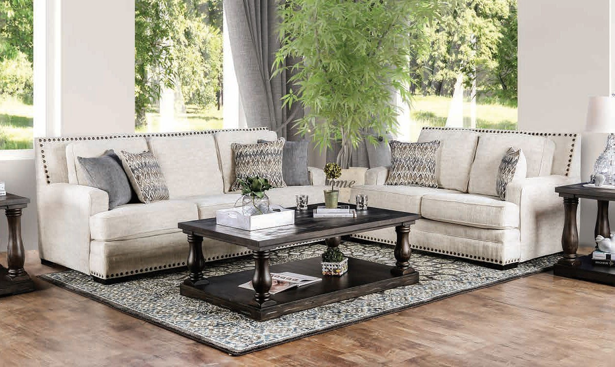 Osvaldo Living Room Set (Ivory) By Furniture Of America