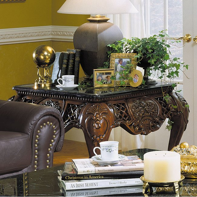 Gladstone Marble Top Occasional Table Set By Homelegance