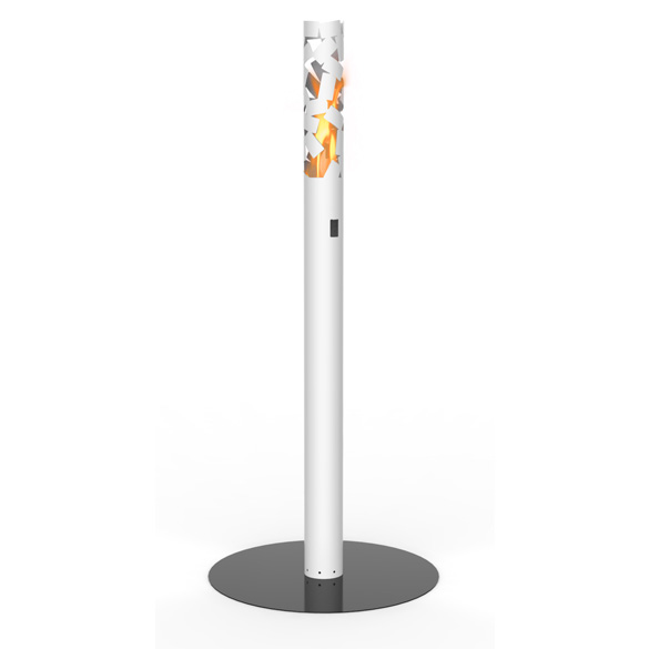 DecorPro Ice Ethanol Torch-Style Fireplace In White
