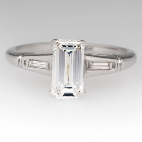 Beautiful Emerald Cut Diamond 1950 s Vintage Engagement Ring Emerald Cut Diamond 1950 s Vintage Seattle Engagement Ring