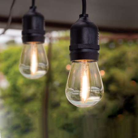 feit electric 20 foot weatherproof string lights 10 sockets 2 foot apart 12 led bulbs included 72122