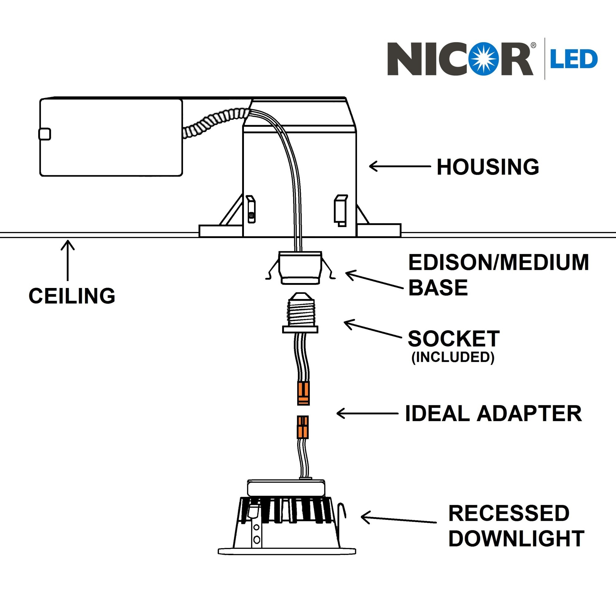 Nicor Dlr4 2k Wh Bf K 4 Inch Recessed Led Downlight