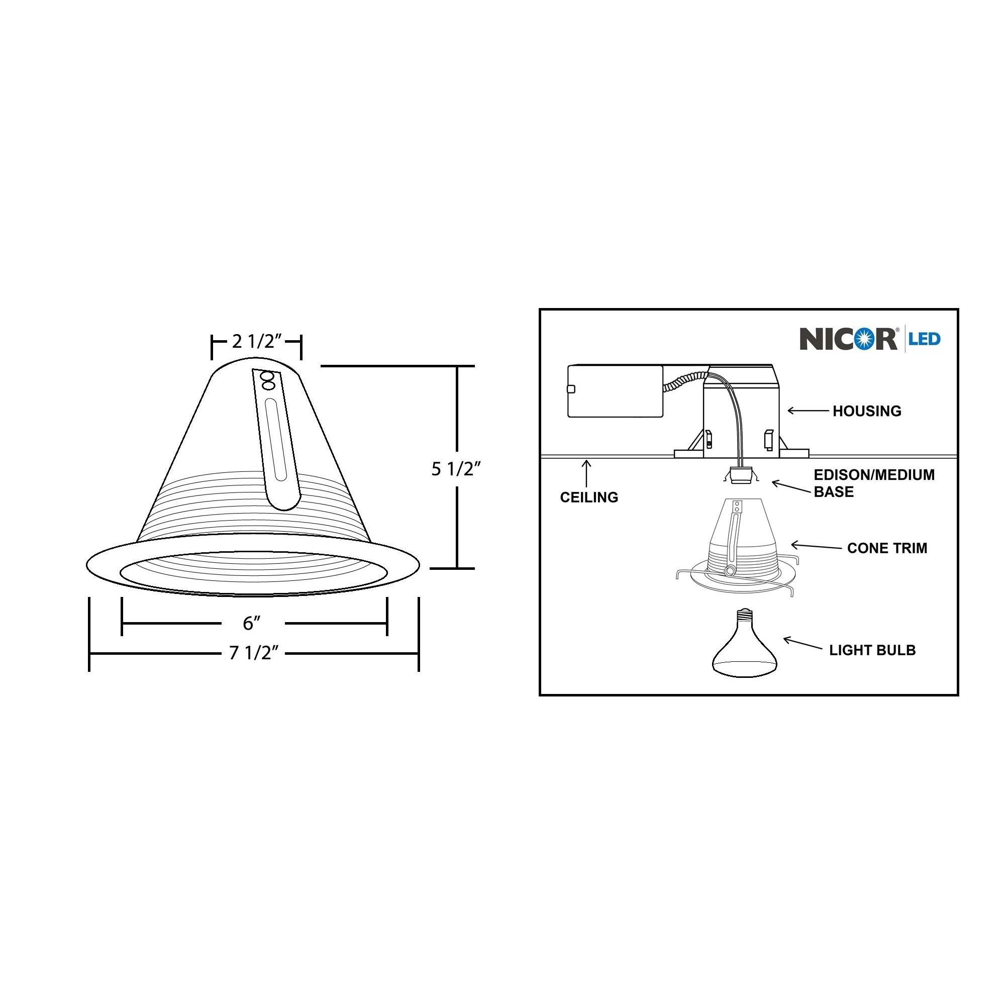 Nicor Awl 6 Inch R30 Airtight Cone Baffle Wet Location