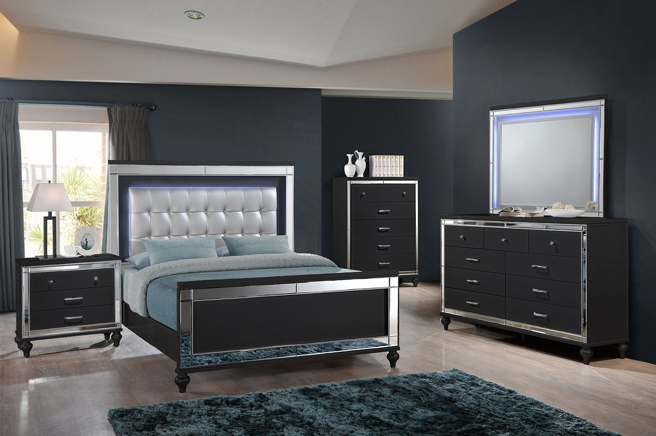 valentino panel bedroom set black