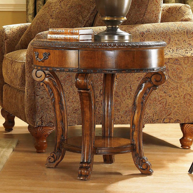 old world round occasional table set