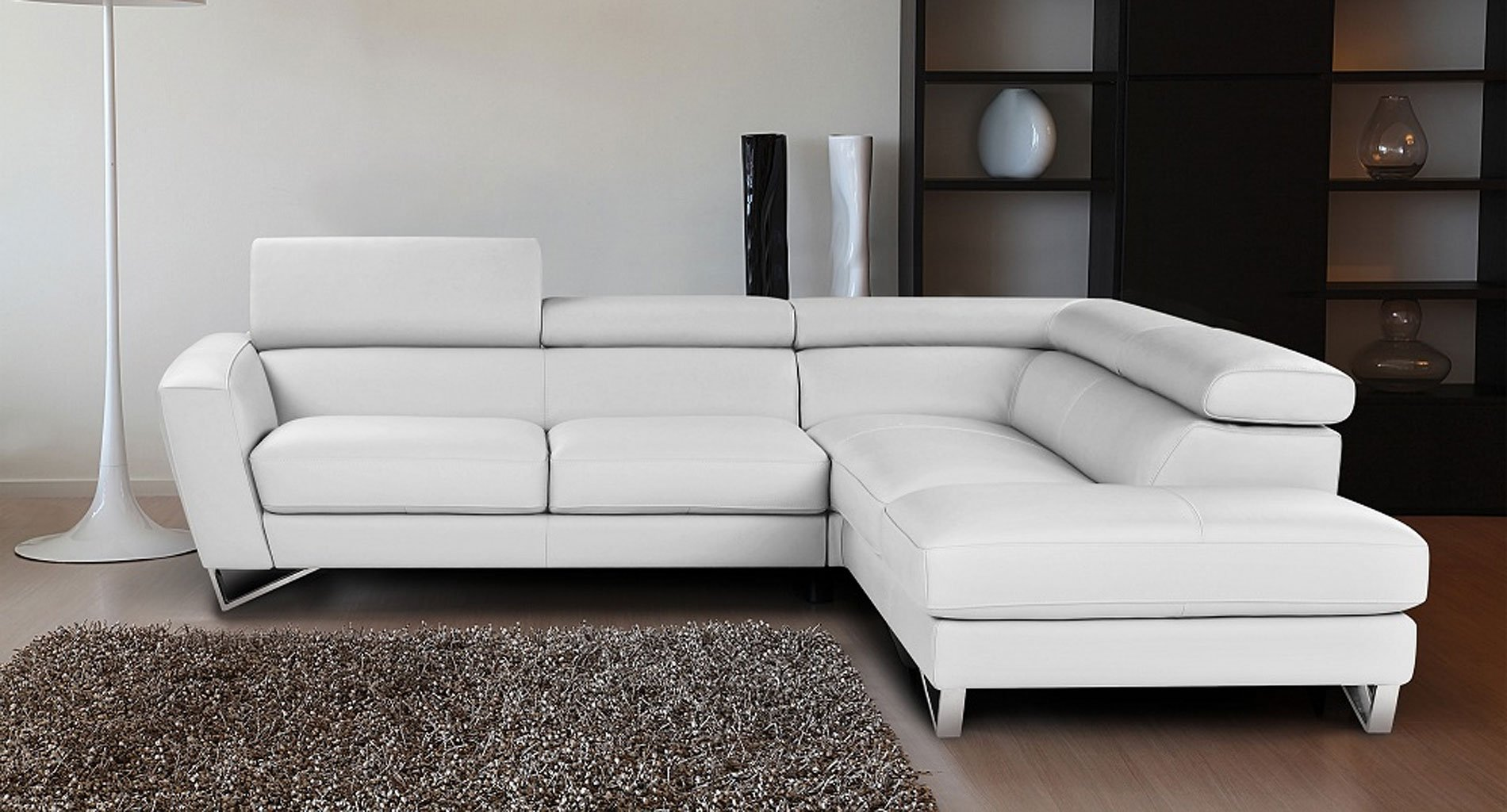 Sparta Leather Right Chaise Sectional (White) JM Furniture ... on Sparta Outdoor Living id=18218