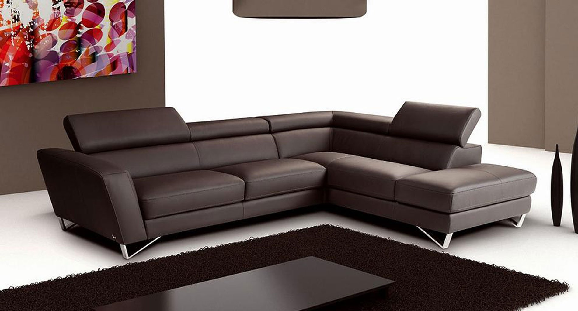Sparta Leather Right Chaise Sectional (Chocolate) JM ... on Sparta Outdoor Living id=89059