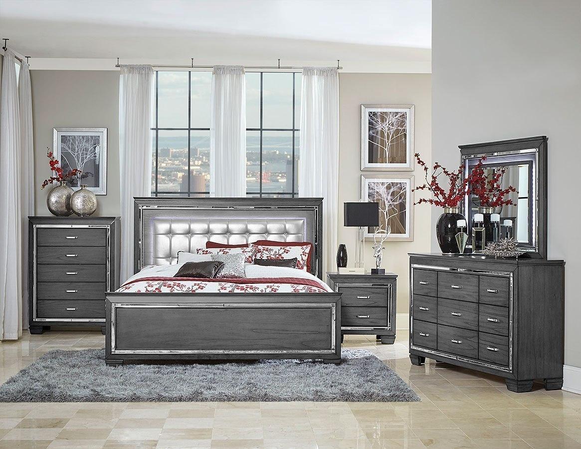 allura panel bedroom set w led lighting gray