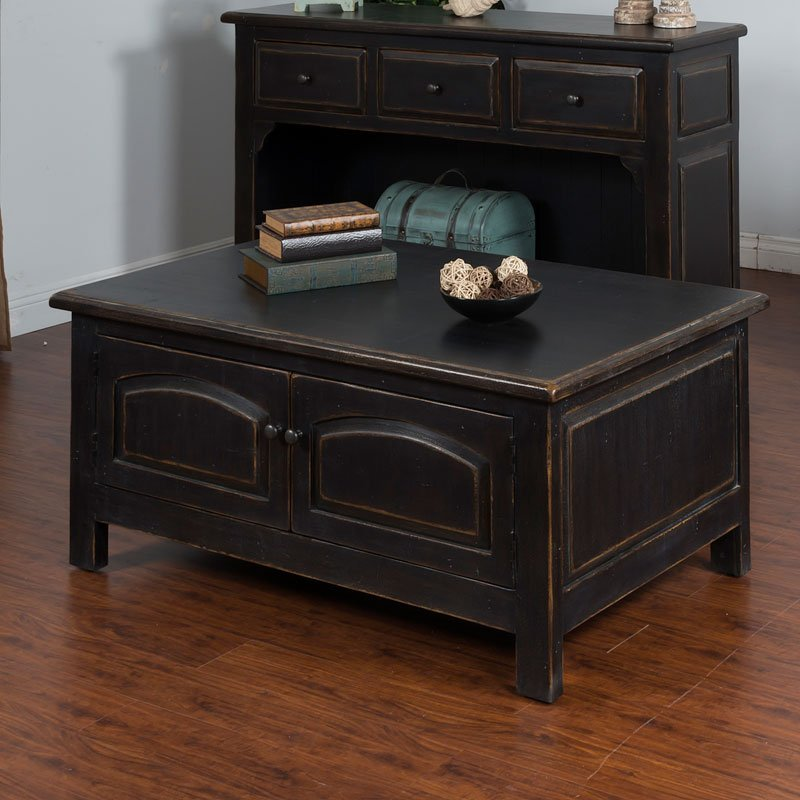 distressed black accent coffee table