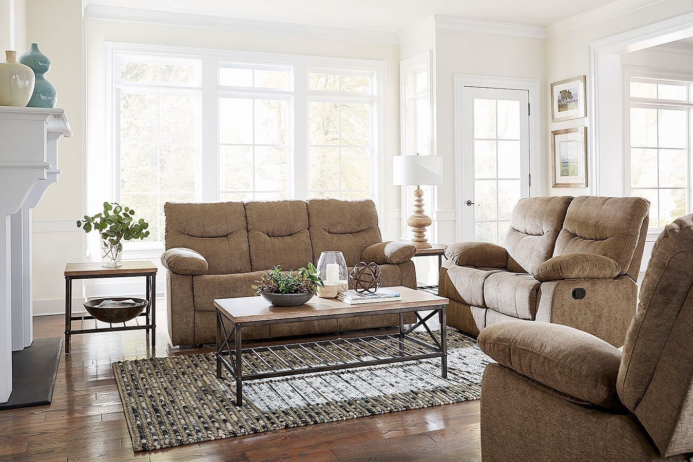 Dinero Reclining Living Room Set Latte