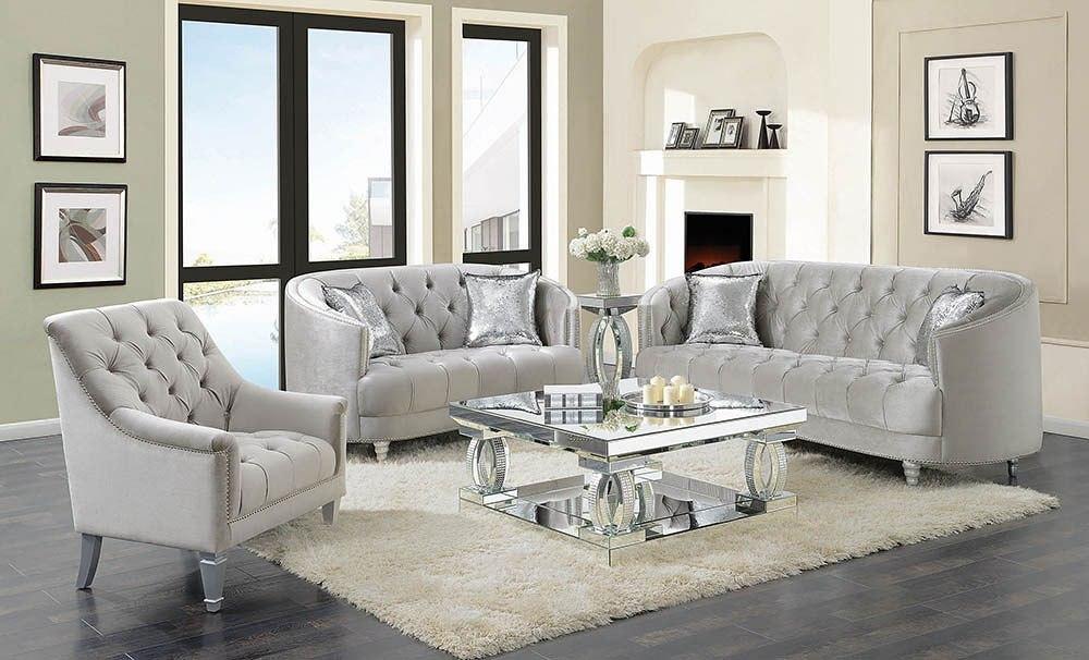 avonlea living room set grey velvet