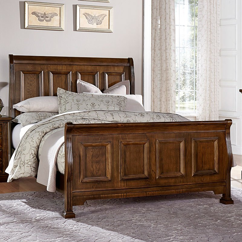 Woodlands Sleigh Bed Oak Vaughan Bassett Furniture Cart