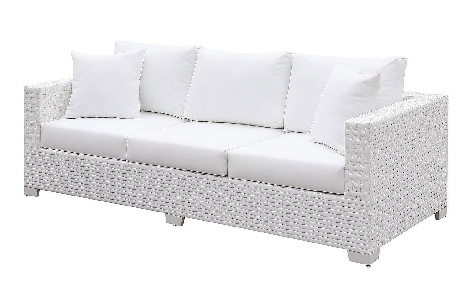 somani white outdoor sofa w 2 pillows