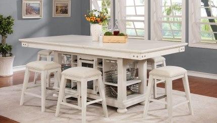 Vintage Americana Kitchen Island Set W Backless Stools Brushed White Avalon Furniture Furniture Cart