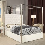 Porter Upholstered Platform Canopy Bed White Meridian Furniture Furniture Cart