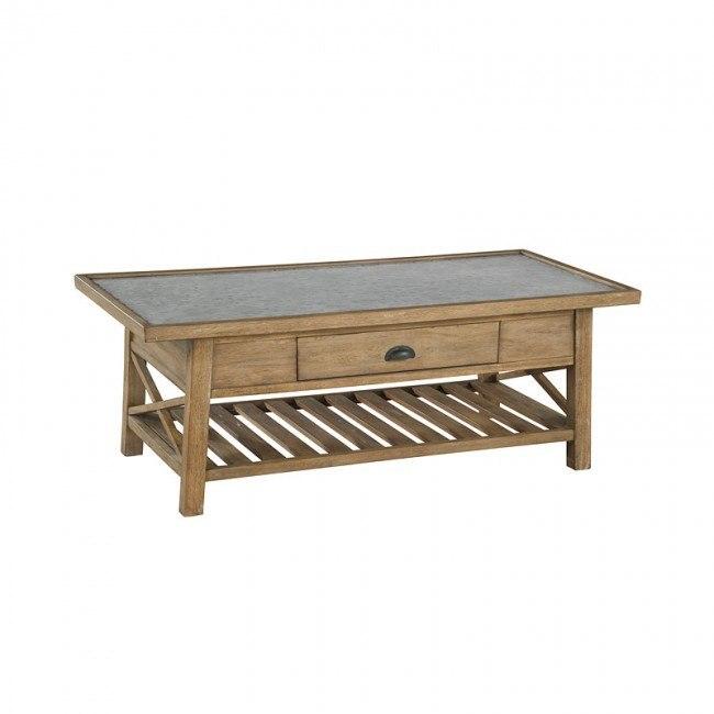 galvanized metal top rectangular coffee table