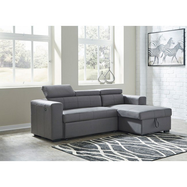 salado gray right chaise sofa w pop up bed