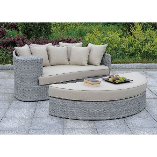 calio round patio sofa and ottoman gray