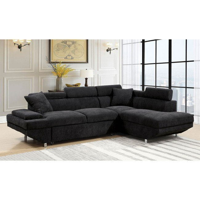 foreman right chaise sectional w pull out bed black