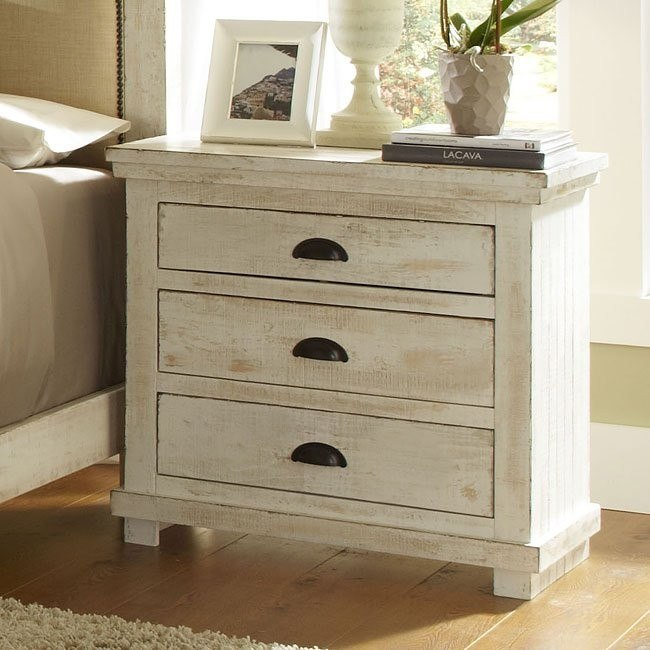 willow nightstand distressed white