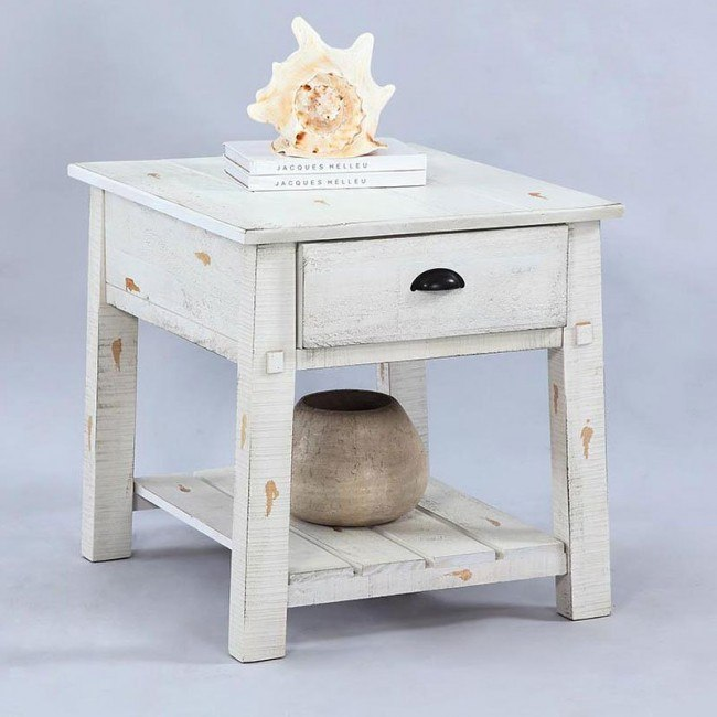 willow end table distressed white
