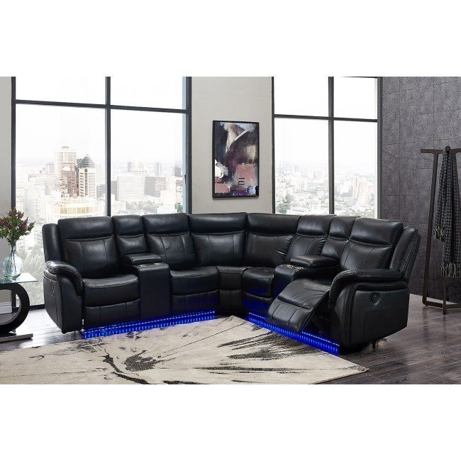 um02 blanche black power reclining sectional w led lighting