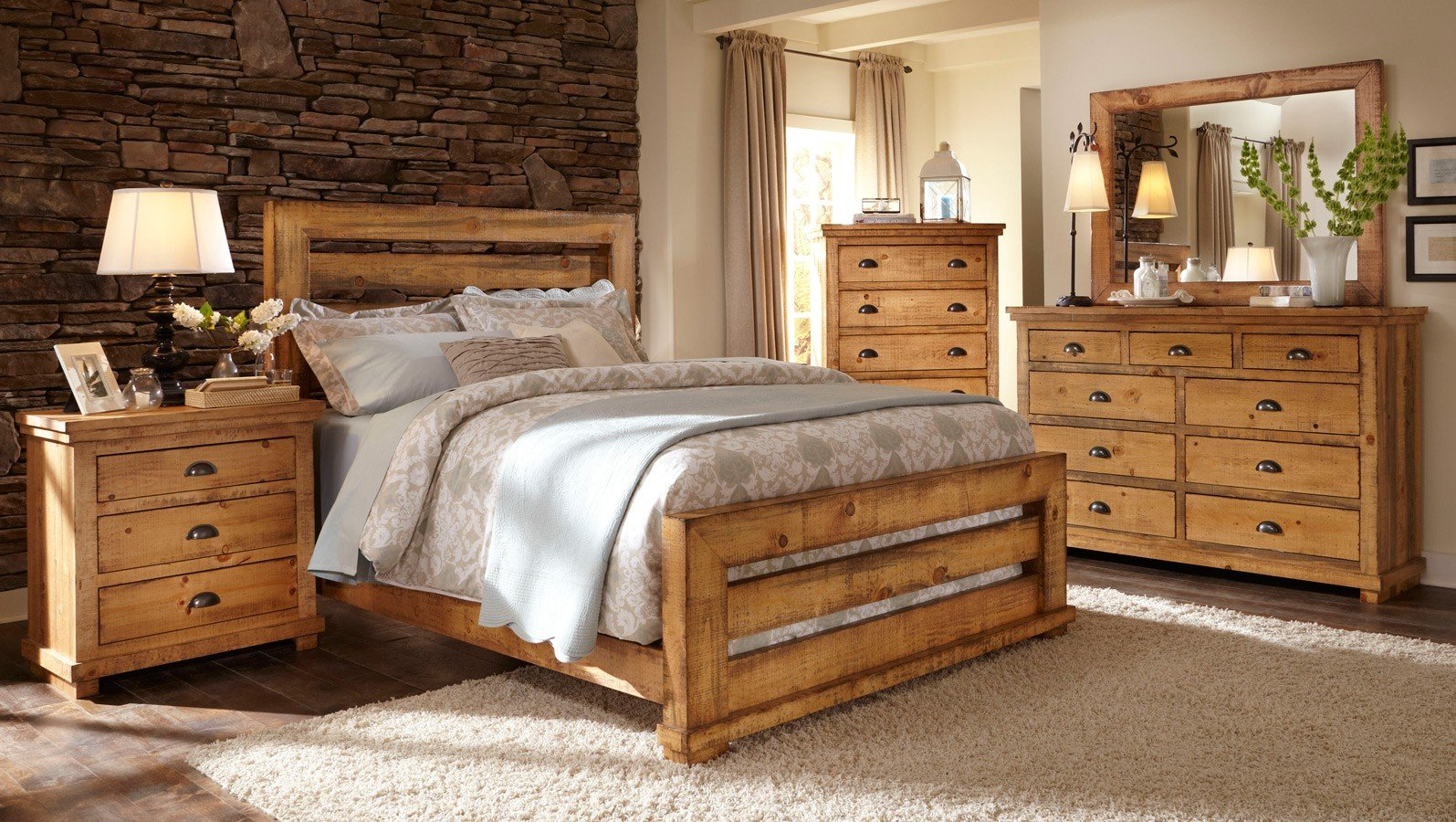 willow slat bedroom set distressed pine
