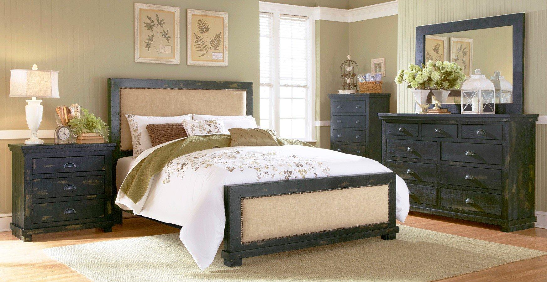Willow Slat Bedroom Set Distressed Black