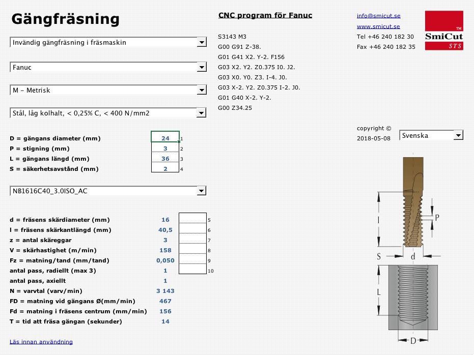 SmiCut programvara för programmering av gängfräsning