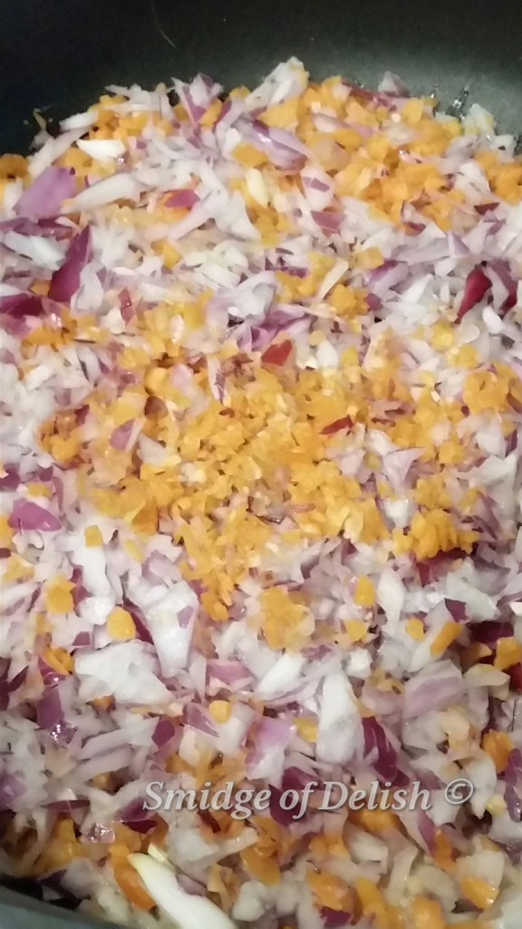 Chopped onions, garlic and carrots
