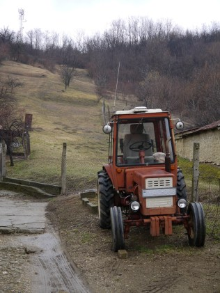 Old tractor and view up the vineyard