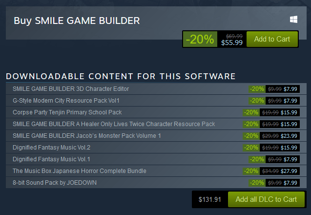 Smile Game Builder Autumn Sale 2017 - 20% Off DLCs