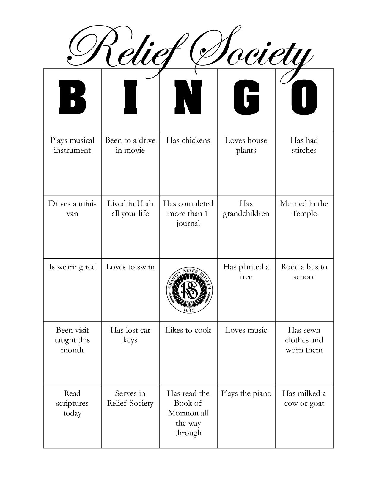 Relief Society Birthday Bingo