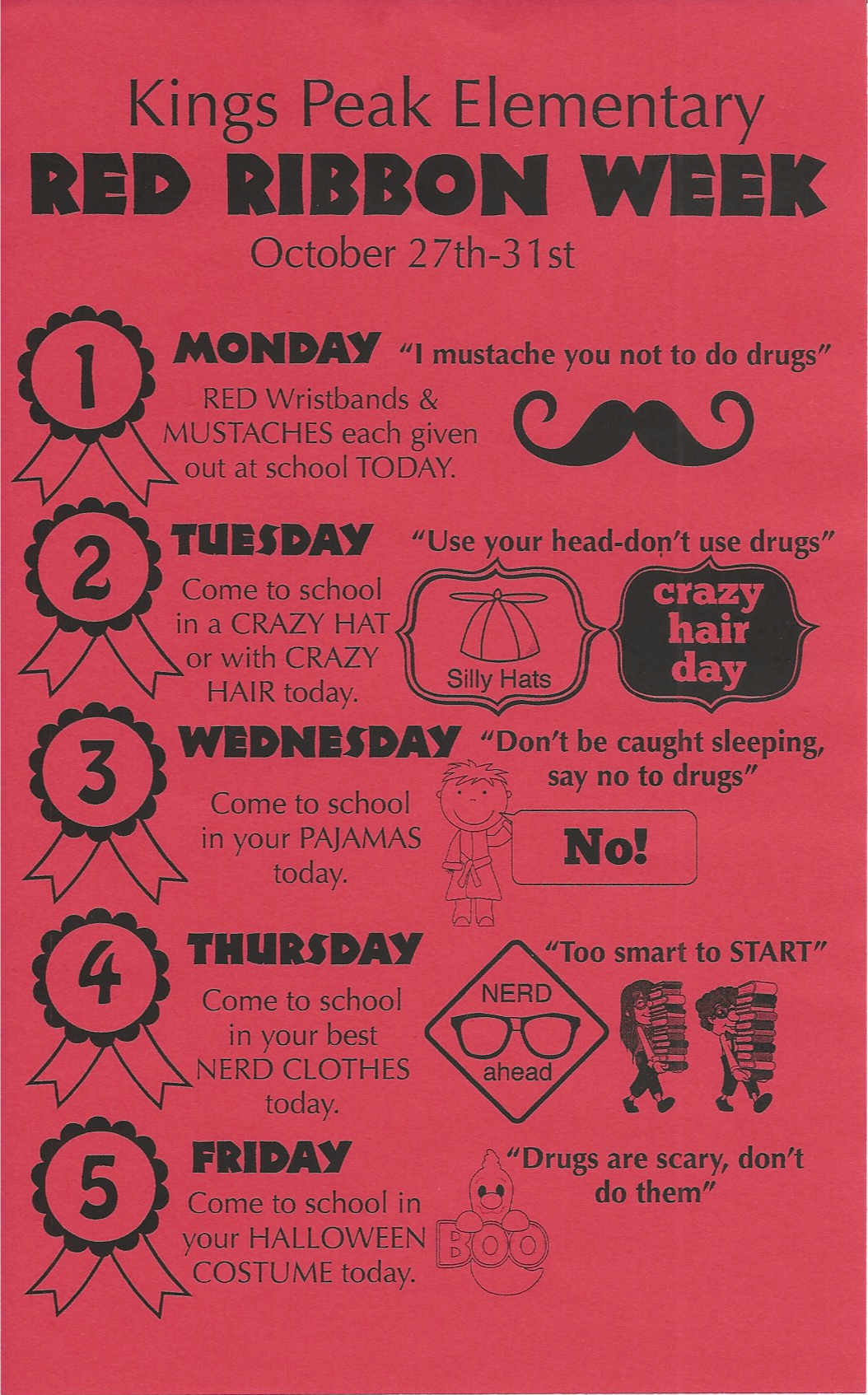 Red Ribbon Week Say No To Drugs