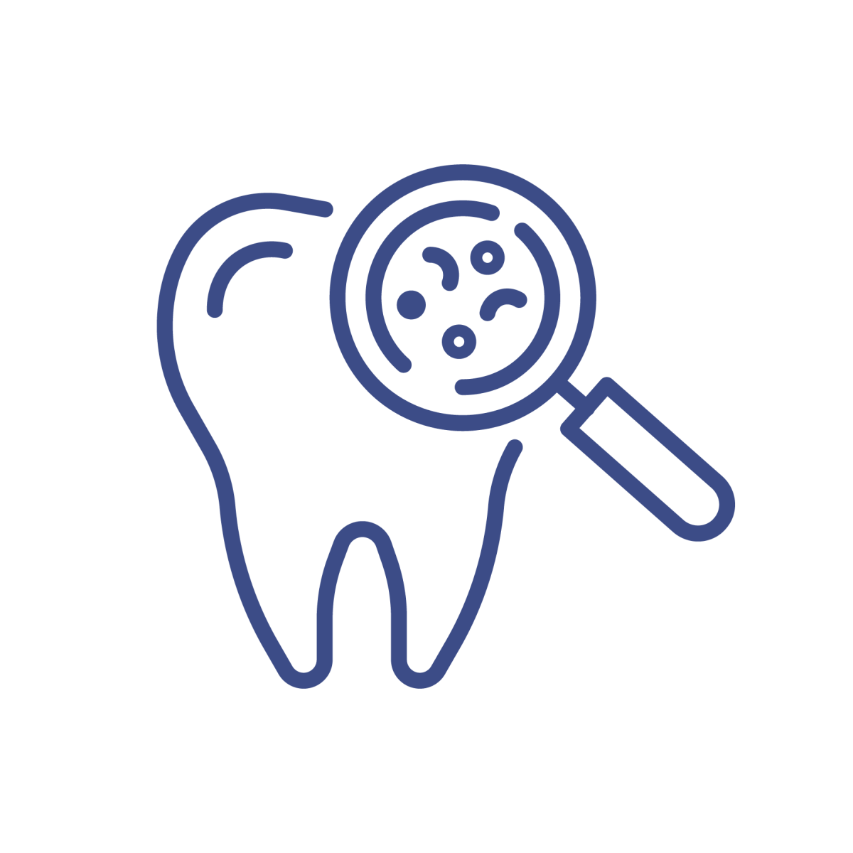 tooth icon with magnifying glass