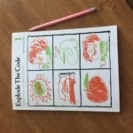 explode the code book white cover with 6 squares of hand drawn images