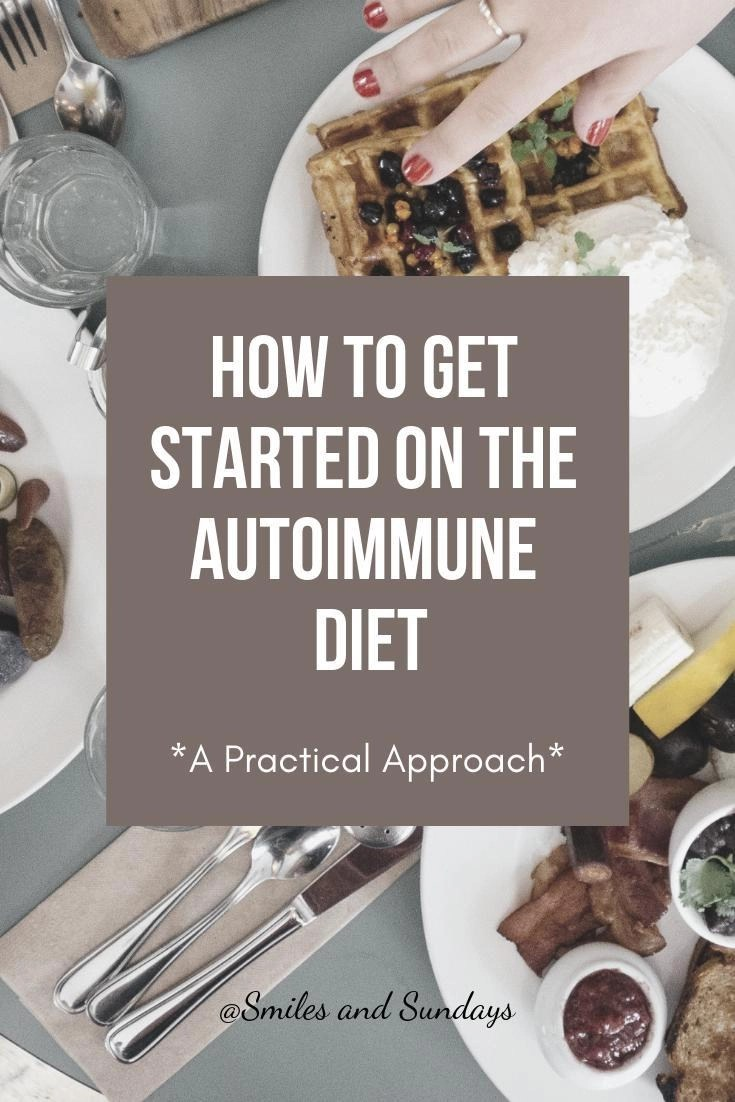 large image of food in the background with title how to get started with the autoimmune diet in large lettering