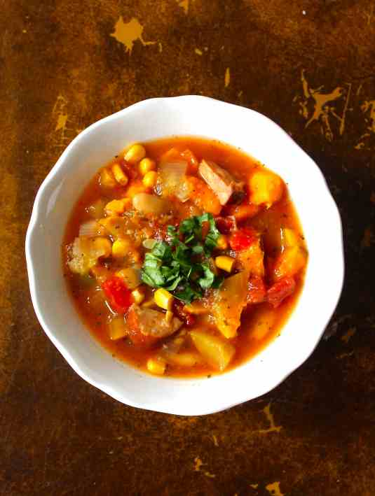 Slow Cooker Summer Squash, White Bean & Sausage Soup