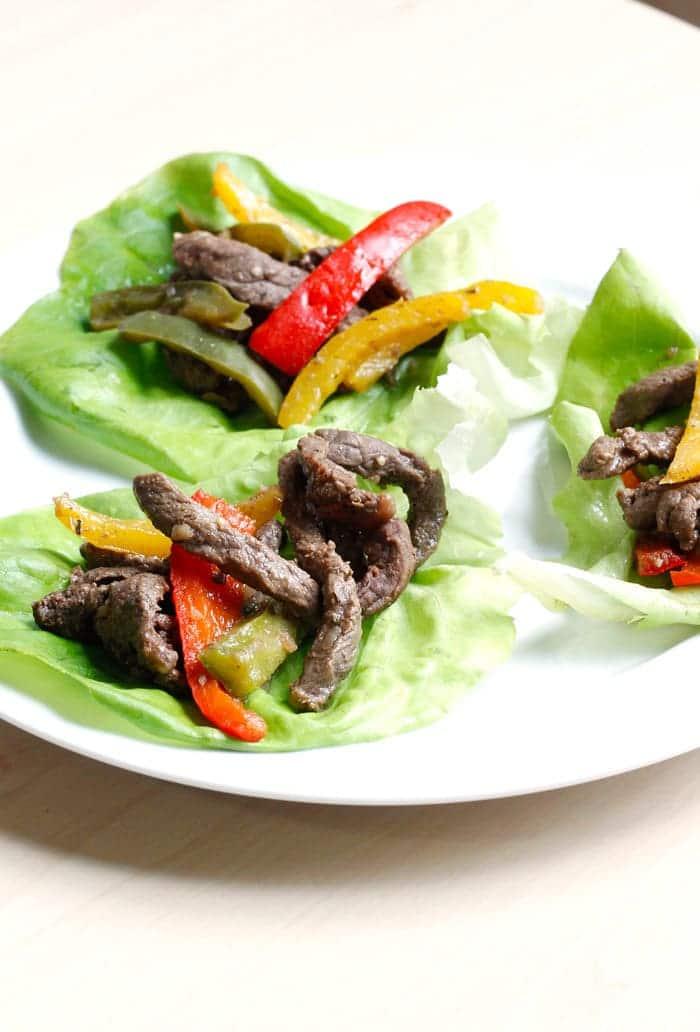 Easy Steak Fajita Lettuce Wraps