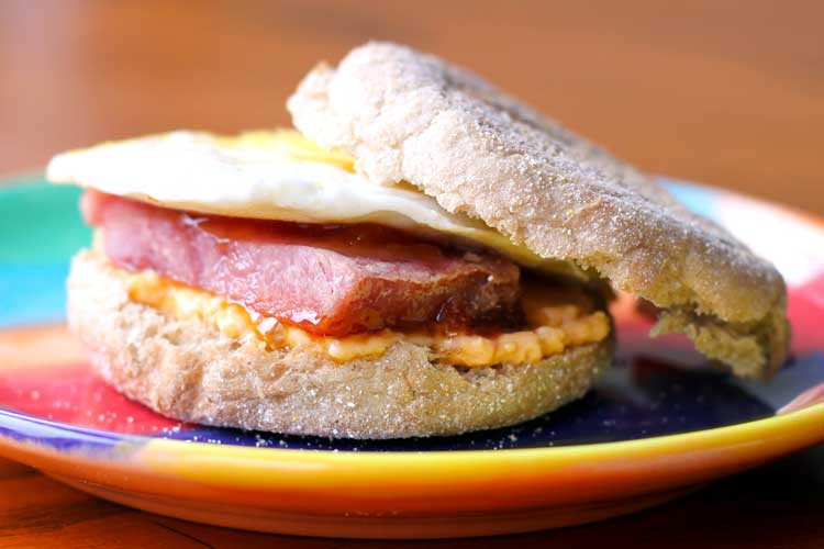Peach Glazed Ham and Pimento Cheese Breakfast Sandwiches