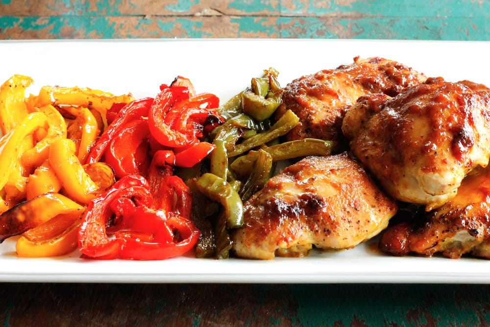 One Pan Oven-Baked Chicken and Peppers