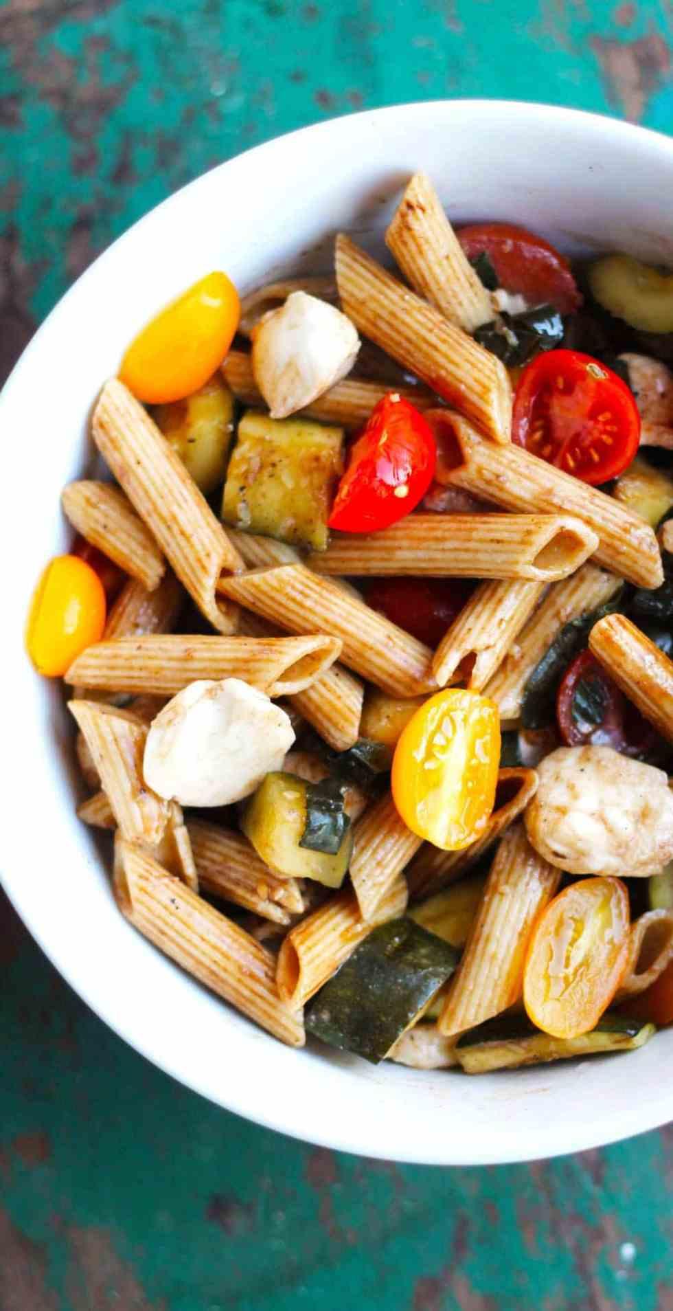 Grilled Zucchini Caprese Pasta Salad