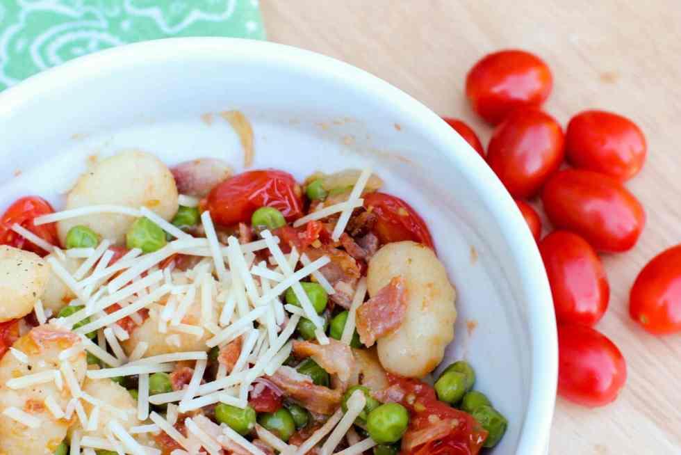 Pea, Tomato and Bacon Gnocchi