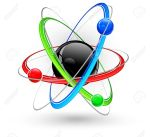 atomo-central-nucleus-surrounded-by-color-electrons-on-white-stock-vector