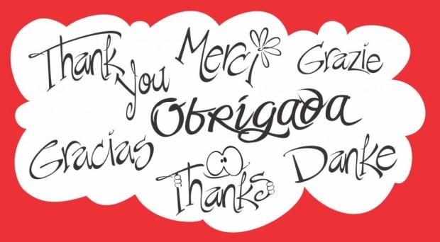 obrigada em várias línguas