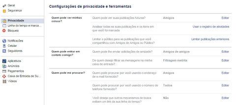 Configurando privacidade no Facebook