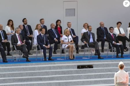 フランス革命祭2018_シェンロン首相、マクロン大統領、大統領夫人、フィリップ首相、河野外務大臣