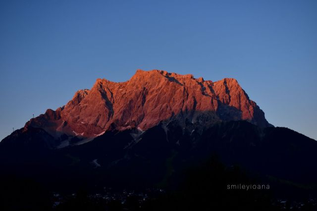 Zugspitze Mountain at Sunset. View from Zugspitze Arena in Tirol