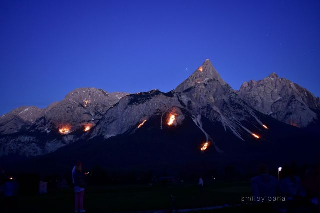 Themed Fires in the Mountains. View from Zugspitze Arena in Tirol